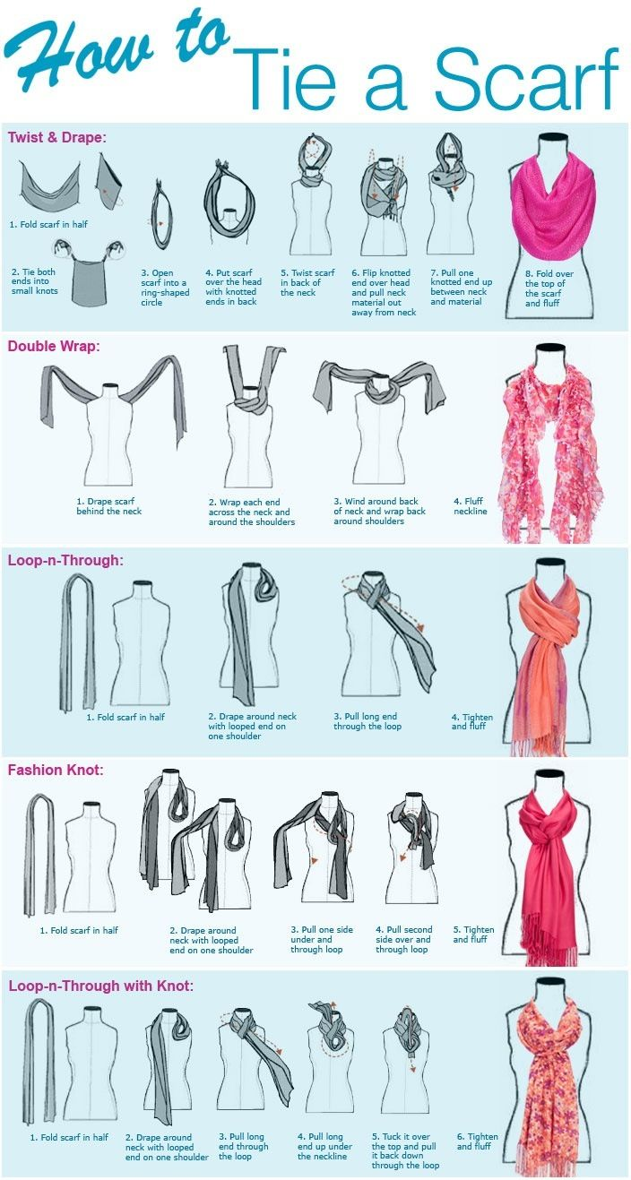 Different ways to tie a scarf More