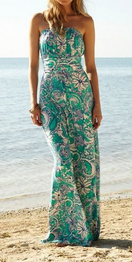 Lilly Pulitzer Holbrook Strapless Maxi Dress in Montauk