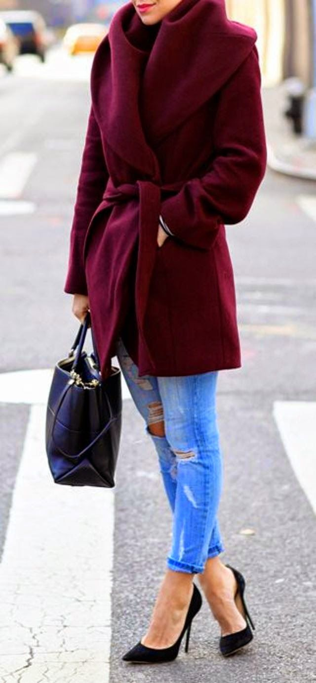 Adorable Burgundy Coat with Torn Jeans, Leather Handbag and Stiletto Shoes