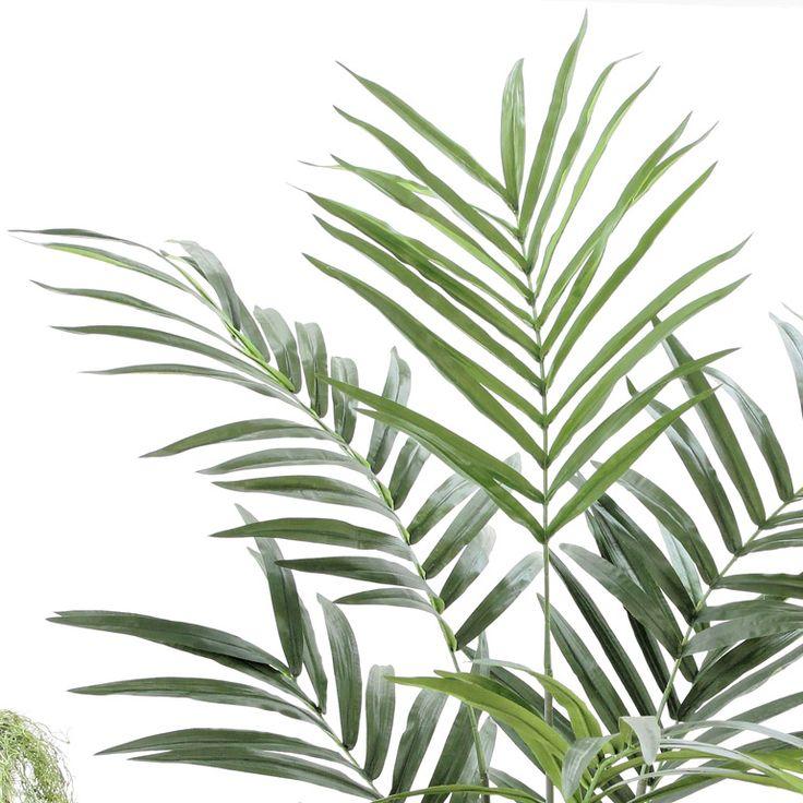 造花ドットコムの光触媒人工観葉樹(フェイクグリーン)92685「【本物そっくり】 ケンチャヤシ 210cm+バナナリーフバスケット(KG6-SRE)+ヤシの繊維(無料)」(フェイクグリーン)