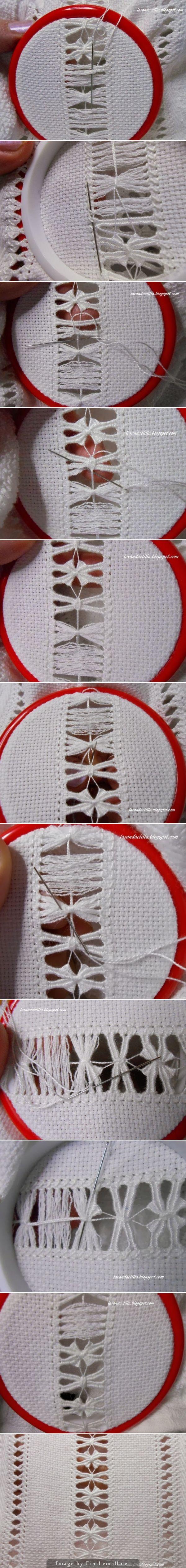 Tutorial: Insert, part B ~~ http://lavandaelilla.blogspot.com.ar/2014/01/tutorial-sfilato-su-asciugamano-con.html