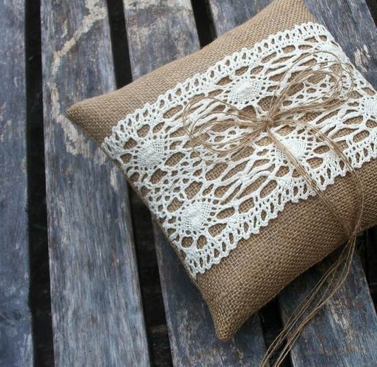 add lace to burlap curtains