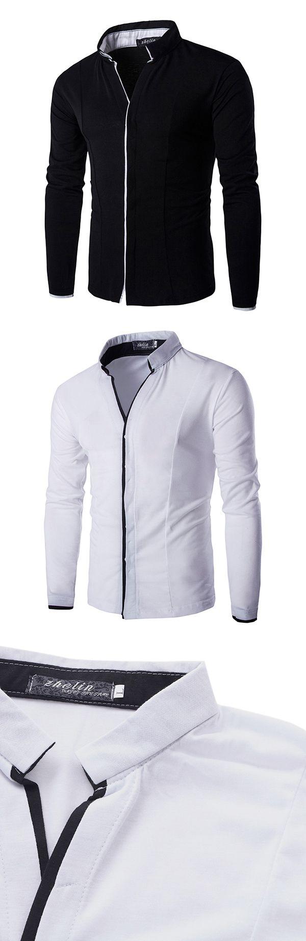 US$18.88 (46% OFF) Casual Business Stand Collar Long Sleeve Slim V Neck Designer Shirts for Men