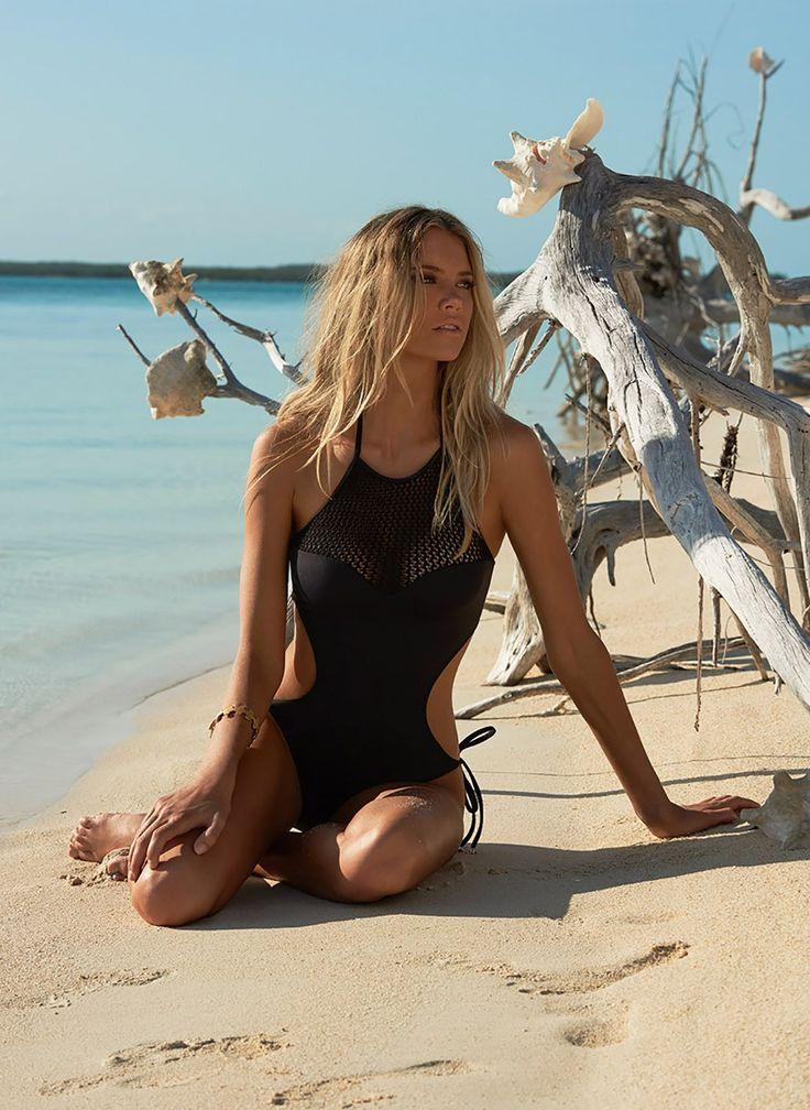 St Tropez Halterneck Swimsuit Black