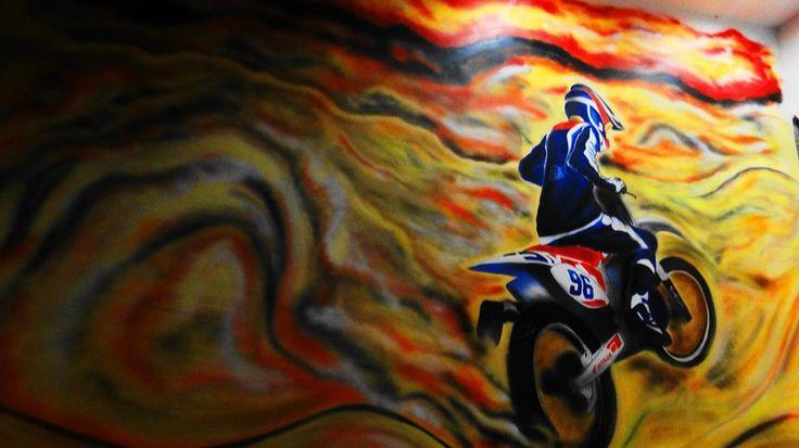 graffiti, painting , spray ,interior,desert , motorbike ,