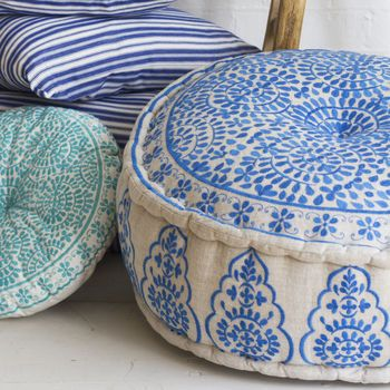 Nomad Embroidered Linen Pouffe, Blue