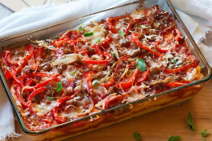 Recipe: Sausage and Pepper Polenta Bake by Giada De Laurentiis