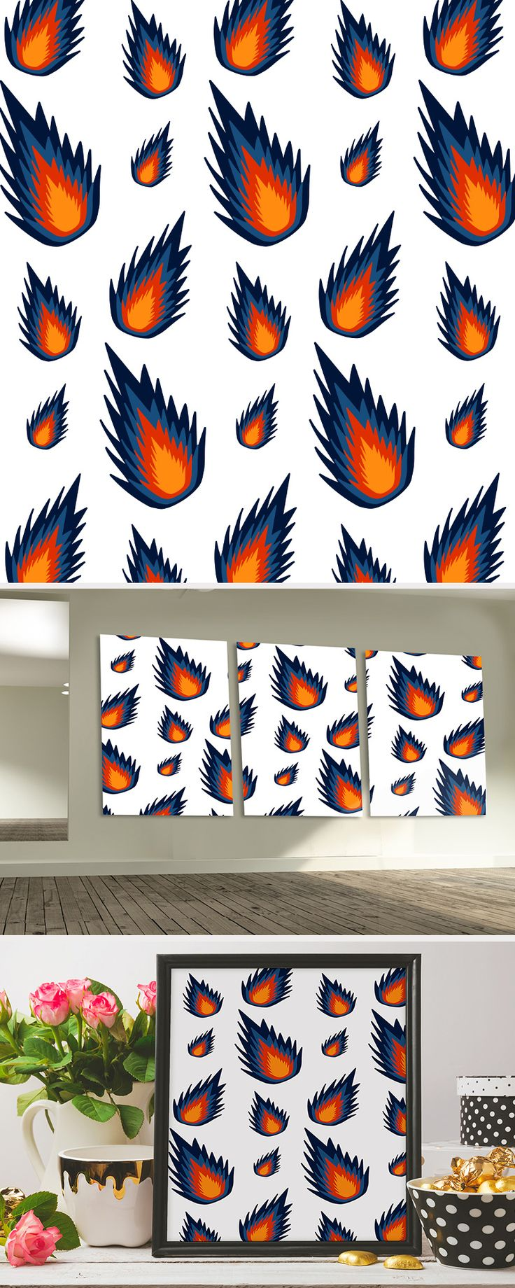 Red and blue meteor pattern used as design for home decor and wall portrait.  #pattern #vector #design #wallart #walldecor #decorideas #homedecor #inspiration #ideas #diy