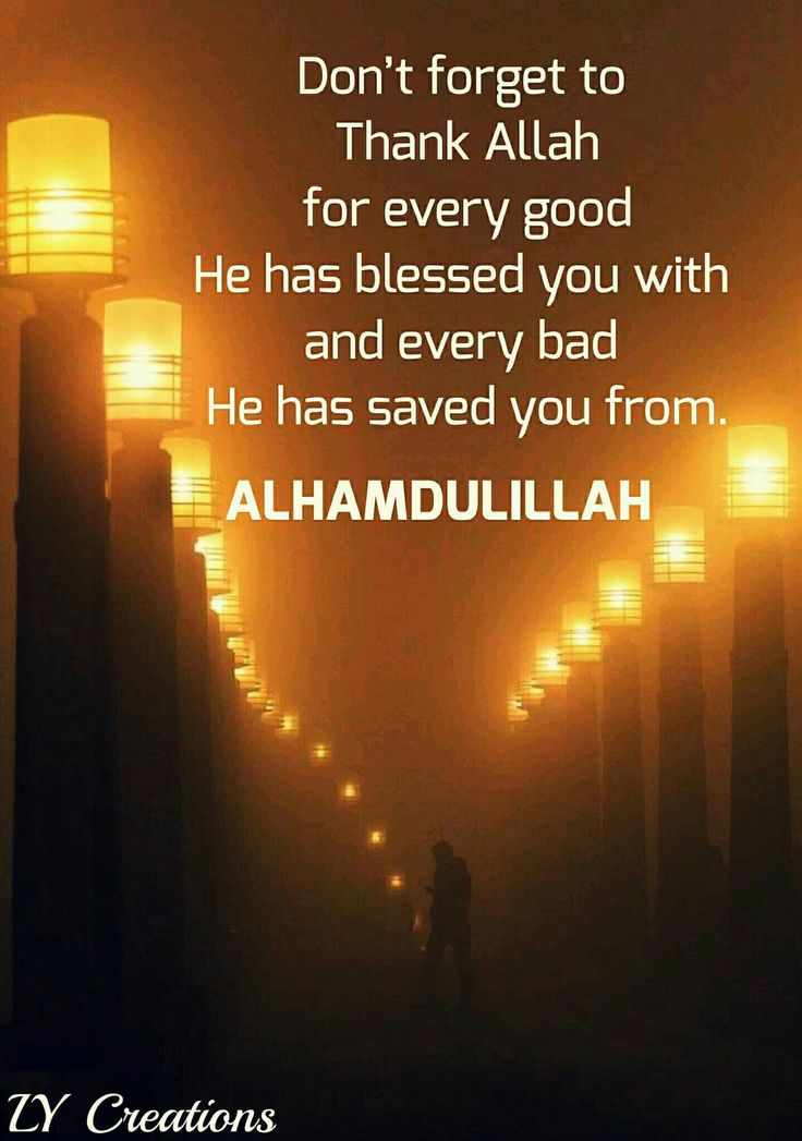 Don't forget to thank Allah for every good He has blessed you with and every bad He has saved you from.