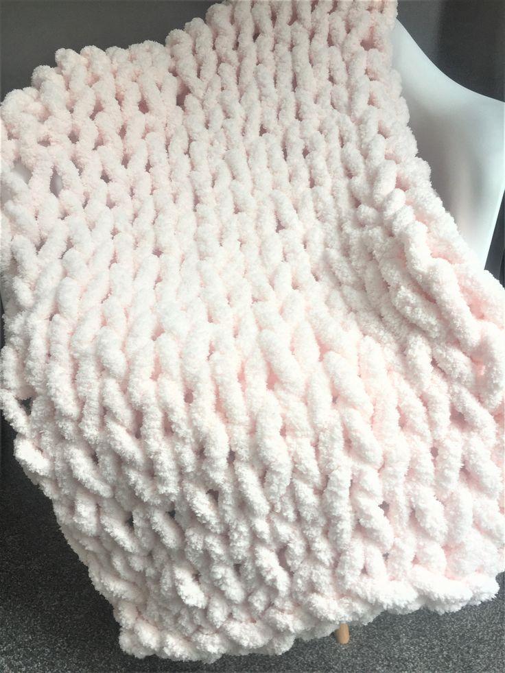 Super chunky Chenille yarn blanket