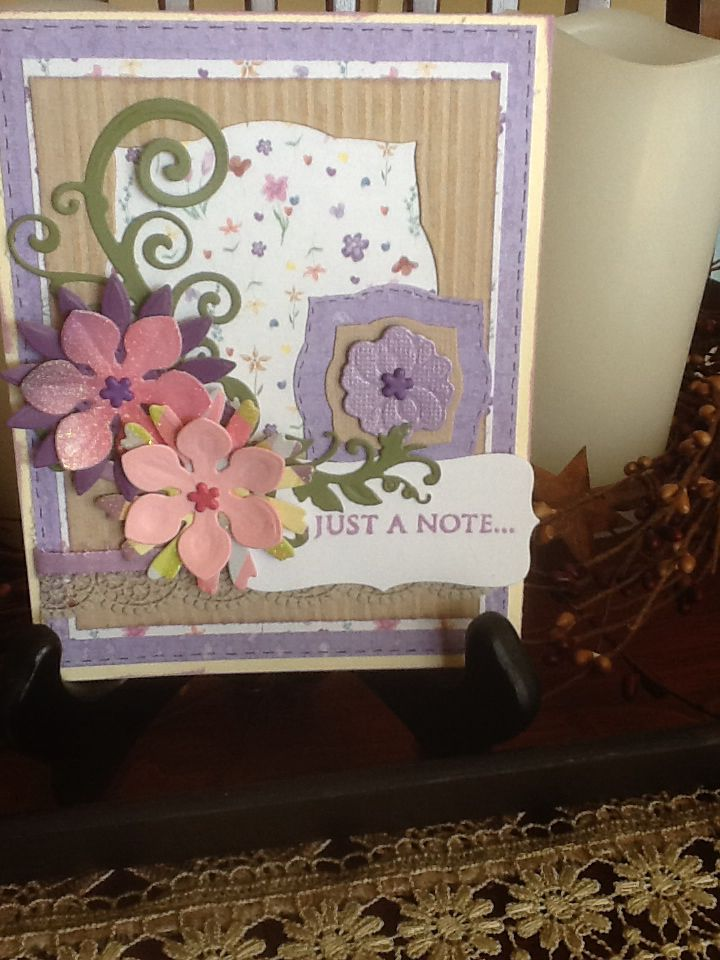 Just a note in pink and lavender