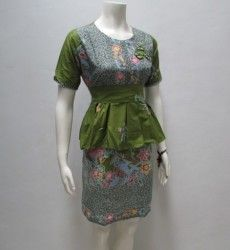 dress batik kerja pendek modern db210