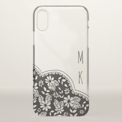 #Black and Clear Floral with Monogram iPhone X Case - #floral #gifts #flower #flowers