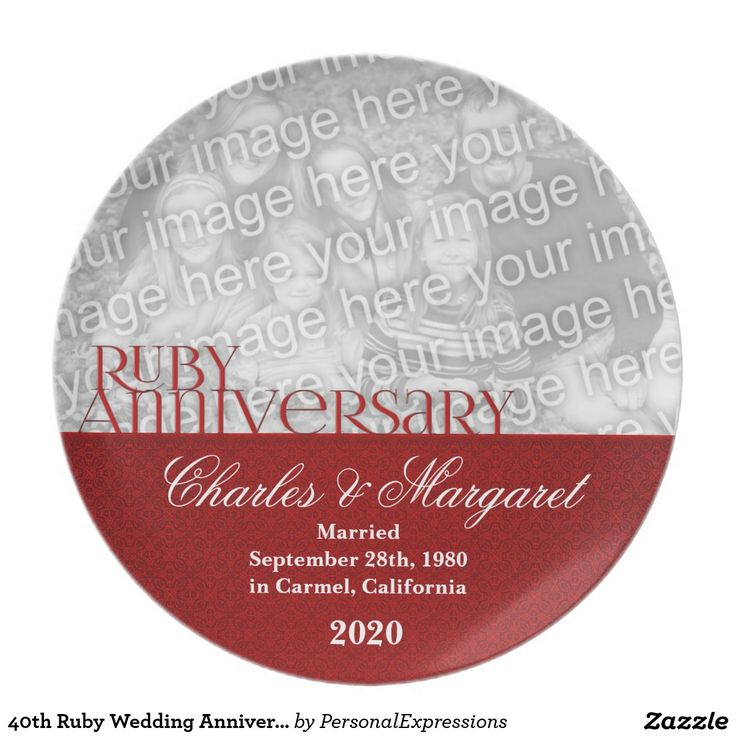 40th Ruby Wedding Anniversary Photo Plate