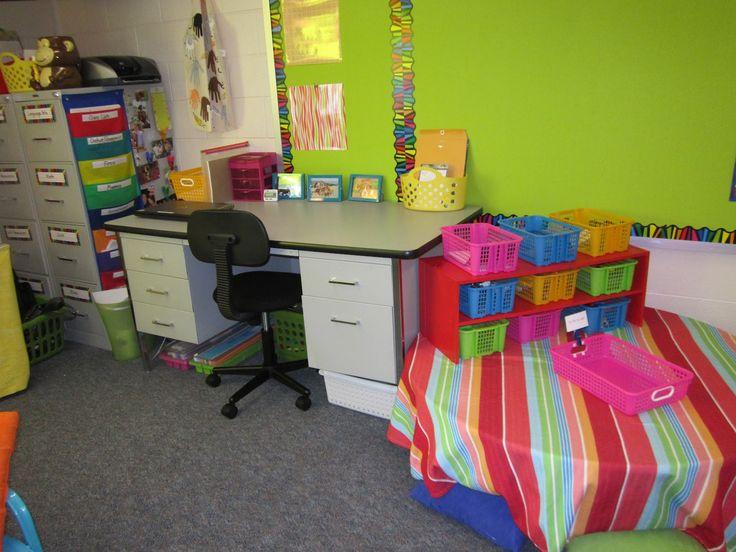 Teacher desk against wall