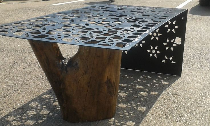 Laser cut steel coffee table