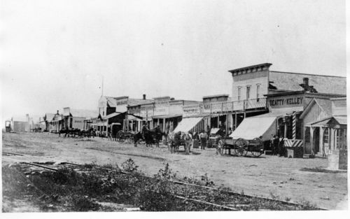 View of Front Street in Dodge City, Kansas. Taken between 1870 and 1880