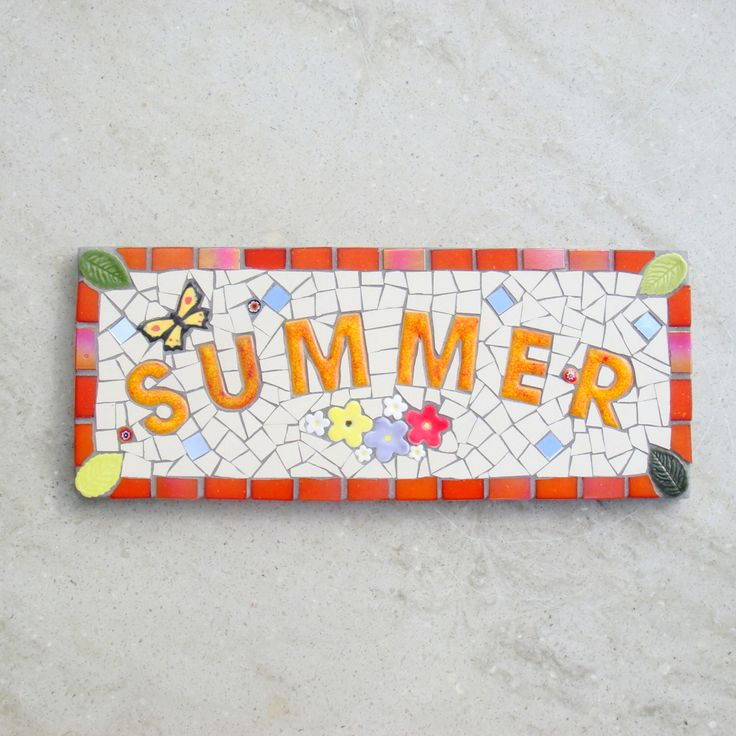 Mosaic Memorial Plaque, Garden sign, Memorial Garden, plaque, Personalised plaque,custom,bespoke,ooak, Summer, Personalized, made to order, by FunkyMosaicsUK on Etsy https://www.etsy.com/listing/473889231/mosaic-memorial-plaque-garden-sign