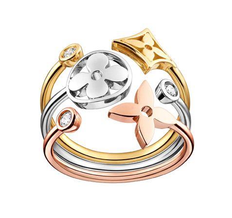 Anel Monogram Idylle, ouro amarelo, rosa e branco, Louis Vuitton