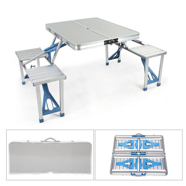 Portable Outdoor Folding Picnic Table With 4 Seats And Umbrella Hole Aluminum Alloy For Garden Camping Picnic