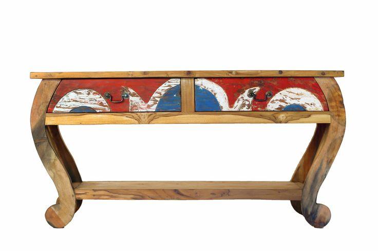 petite console 2 tiroirs en bois de bateaux de java. Black Bedroom Furniture Sets. Home Design Ideas