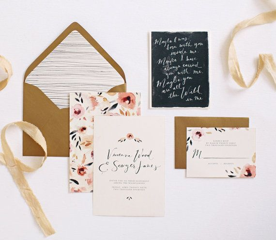 Hand painted wedding invitation suite. Featuring a watercolor floral pattern and custom hand lettering. The front of the main invitation includes