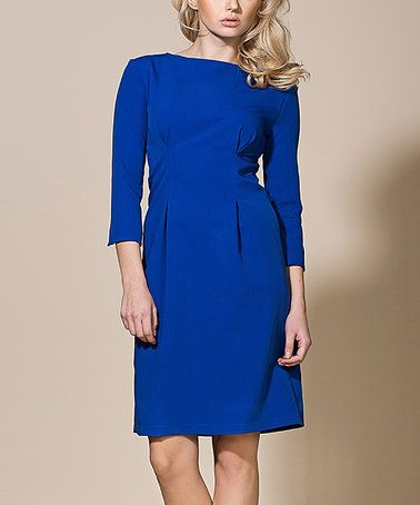 Look at this #zulilyfind! Blue Pleat-Waist Sheath Dress #zulilyfinds