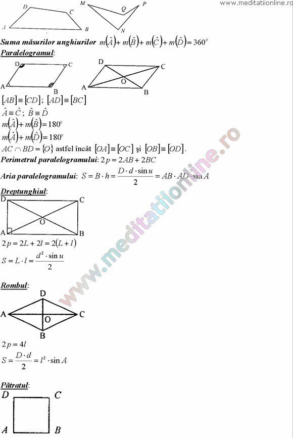 Formule matematica gimnaziu 5 8 Formule si teorie Geometrie plana si in spatiu si Trigonometrie pagina 9