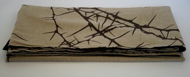 African thorn linen throw close-up