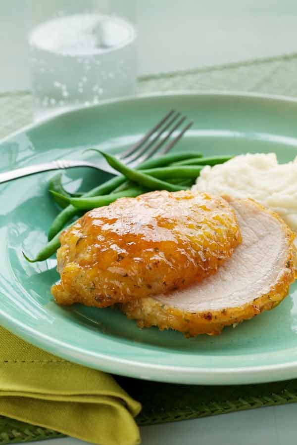 Apricot Glazed Pork - dry ranch dressing, bread crumbs, pepper topped ...