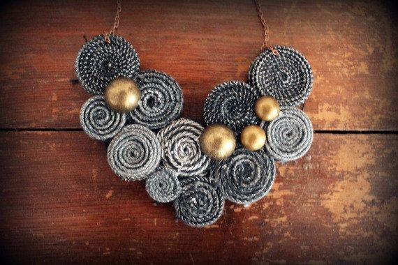 Recycled Levis Jean Bib Necklace No20