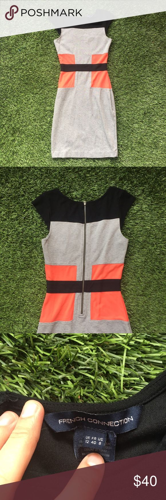 FCUK Colorblock bodycon dress Gorgeous color block dress by French Connection. Like new condition. Beautiful coral, slate and black. Note that this brand runs hella small! I wear size 27 jeans - usually a dress size 4 - and this fits me fantastic. Selling because I already have a similar dress... I like this one better but I let my boyfriend choose which to keep and he picked the other one. 💁🏻 French Connection Dresses