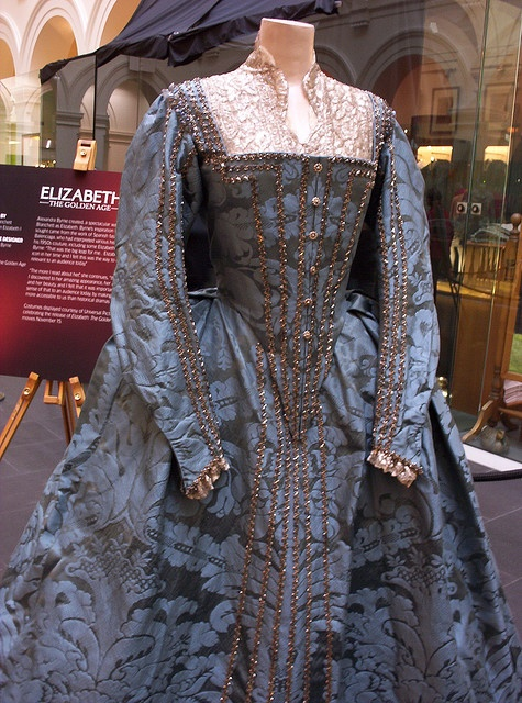 """Elizabeth: The Golden Age Film Costume    Worn by: Cate Blanchett as Queen Elizabeth I  Costume Designer: Alexandra Byrne  Film: Elizabeth: The Golden Age  Alexandra Byrne created a spectacular wardrobe for Cate Blanchett as Elizabeth. Byrne's inspiration for the tone she sought came from the work of Spanish fashion designer Balenciaga, who had interpreted various historical paintings in his 1950s couture, including some Elizabethan pieces. Alexandra Byrne: """"That was the big leap for me…"""