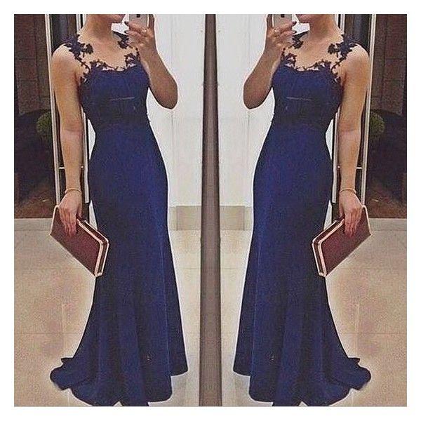GM-Fashion Blue Patchwork Lace V-neck Party Dacron Maxi Dress