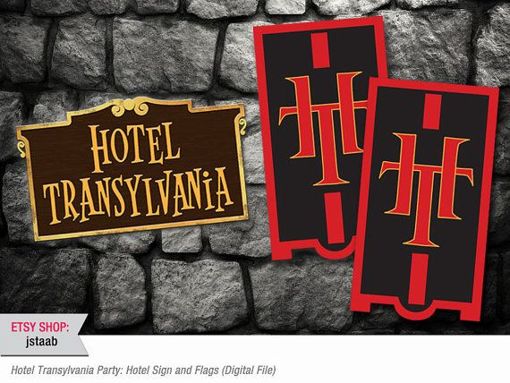 Hotel Transylvania Party Bundle Flags and Hotel Sign by jstaab, $13.00