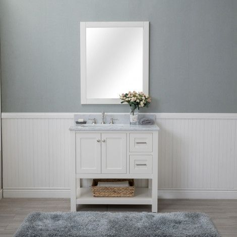 wilmington 36 in single bathroom vanity in white with carrera rh pinterest com