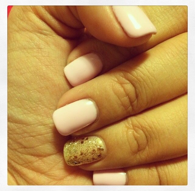 Pale pink with gold sparkles