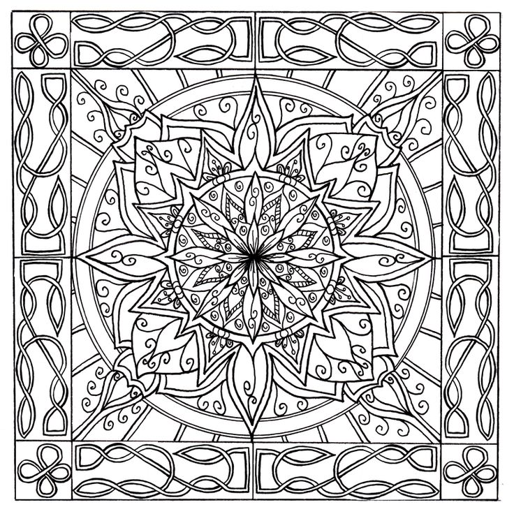 celtic knotwork border mandala by welshpixie on deviantart - Celtic Coloring Book