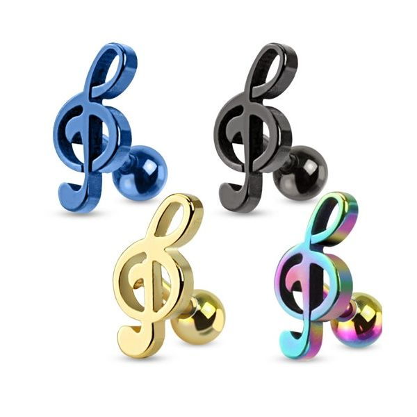 Tragus & Helix Body Jewellery Clef Music Note Tragus/Cartilage Stud