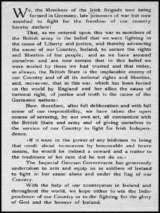 Roger Casement's Irish Brigade Oath