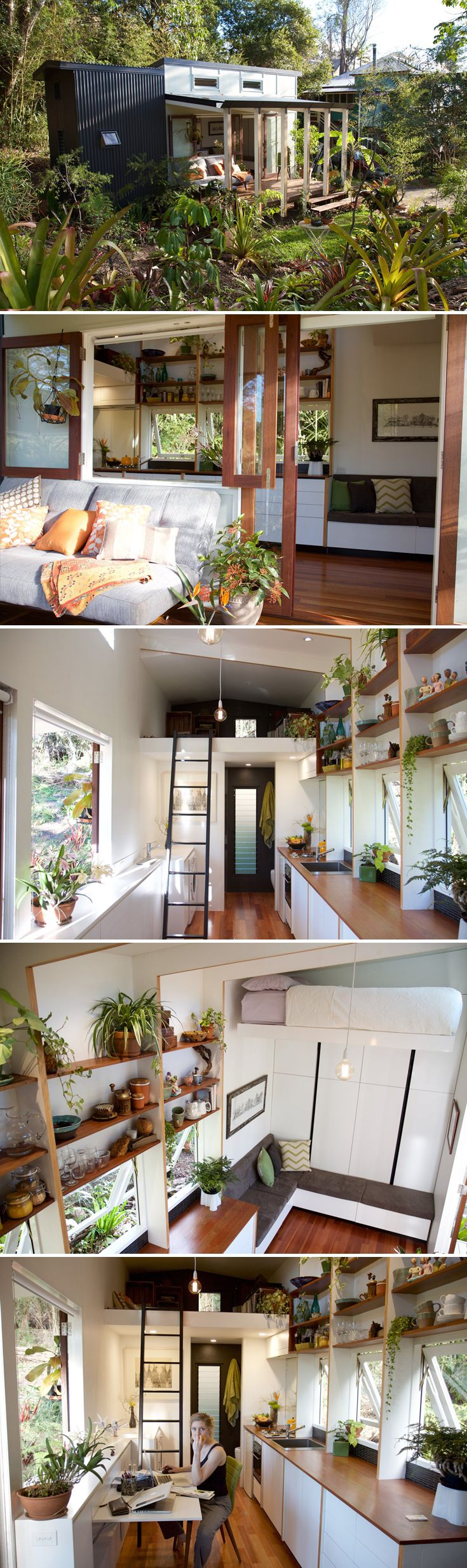 This 18 square meter (~193 square foot) tiny house in Australia contains high-end detailing and fixtures, a custom-designed retractable bed, and custom cabinetry.