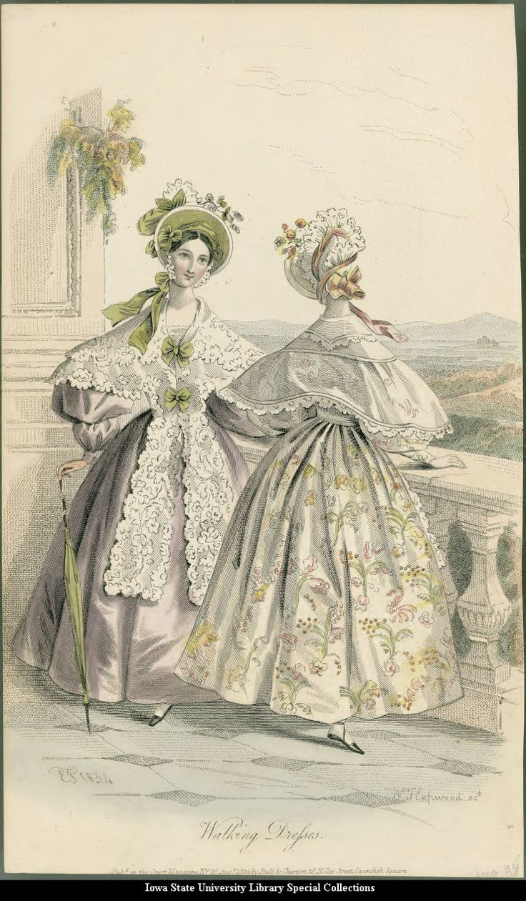 Walking dresses, 1834 United Kingdom, Court Magazine