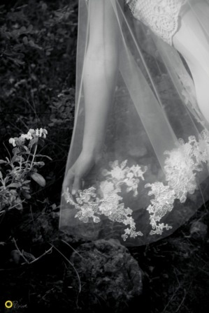 Philia Veil by a rural church, Mani - Nymphi Design Bridal Accessories - Greece