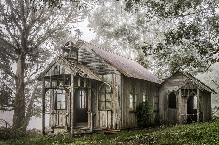 Mike Hollman Photography-  Old church in fog, Kattemingga, Victoria, Australia.
