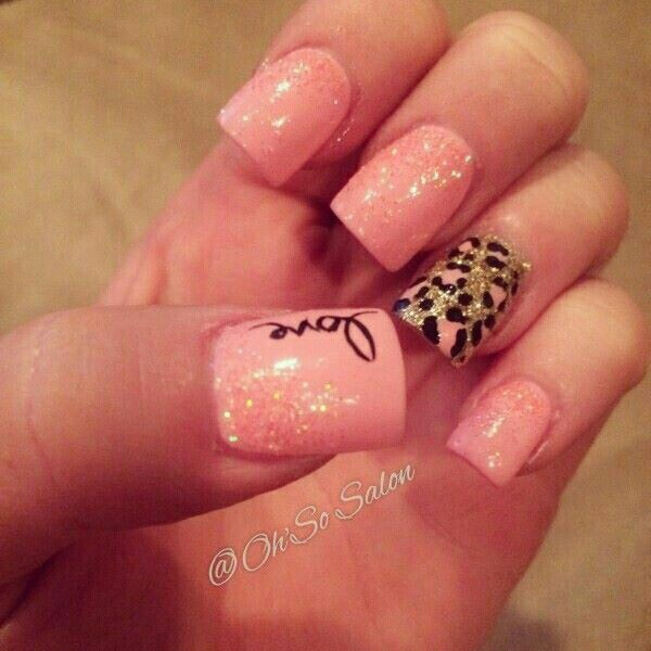 Pink glitter nails with leopard print accent nail and love writing decoration
