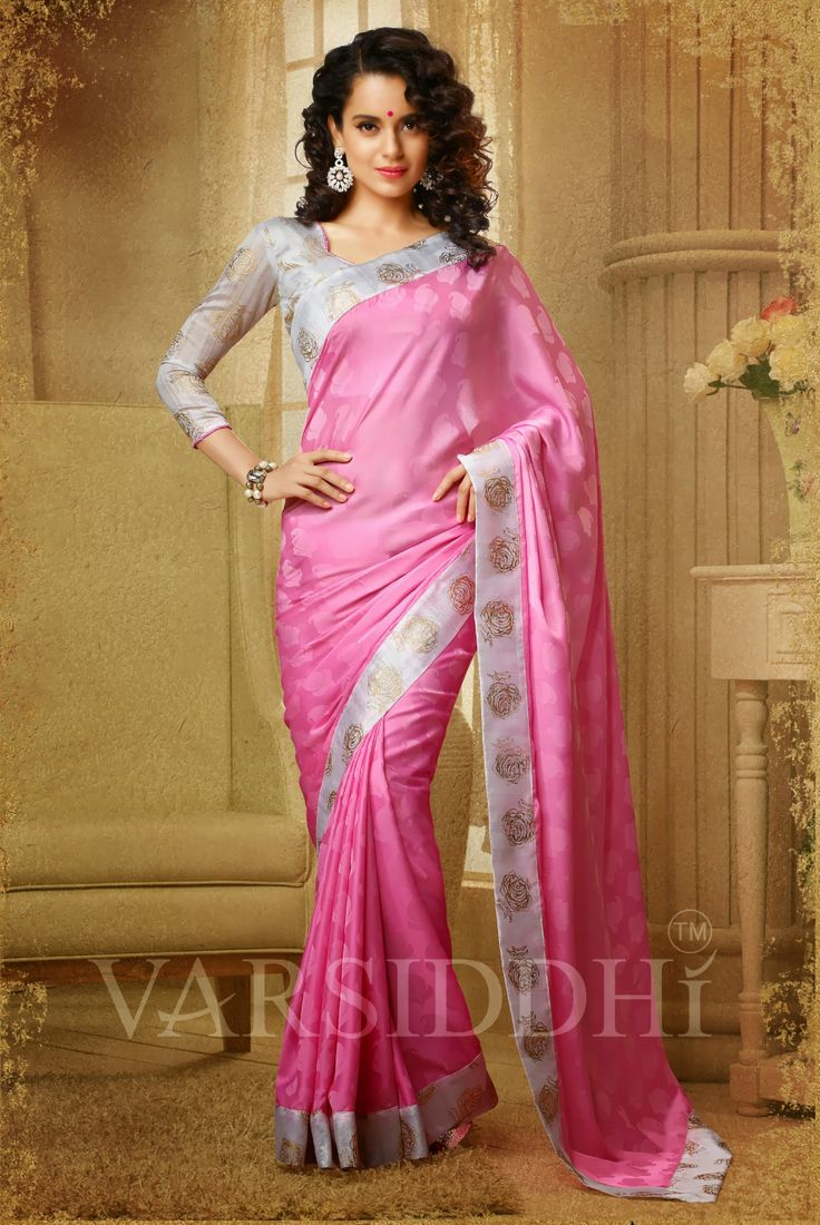 Kangana Ranaut Printed Light Pink Colour Georgette Saree  510