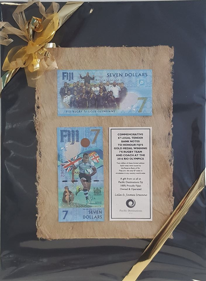 Does anyone know what country in the world has a $7 note? Fiji is correct! Pacific Destinationz, our ground partner in Fiji, recently surprised us with the gift of two commemorative $7 banknotes issued to honour the Fiji 7s team who won Gold at the Rio Olympics in 2016. What a creative gift and an amazing way for the Fijian government to recognise their world champions