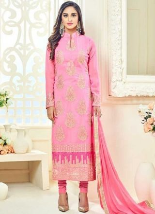 Pink Embroidery Work Georgette Santoon Designer Fancy Churidar Suit  http://www.angelnx.com/Salwar-Kameez