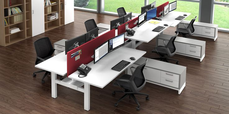 Workstations that fit your company palette and give a splash of color? Absolutely. These adjustable height workstations fit employee's invididual needs while streamlining the look across the office.