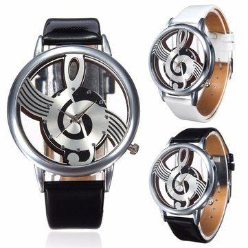 Fashion Hollow Music Melody Note PU Leather Band Analog Quartz Wrist Watch